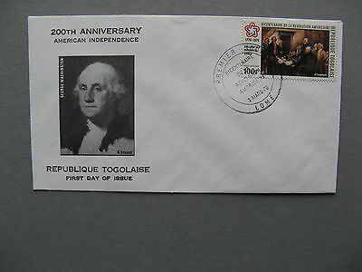 TOGO, cover FDC 1976,  200 years USA  bicentennial Declaration of Independence