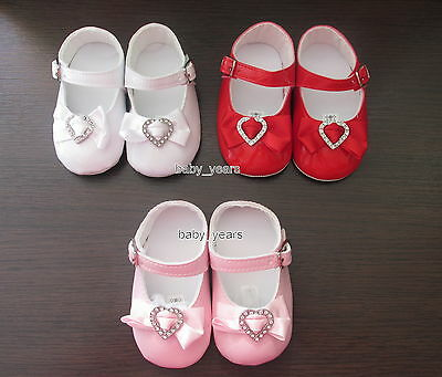 Baby Girls Patent Soft Pram Shoes White Black Red Bow Diamante Heart New