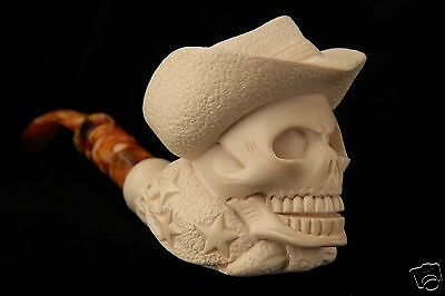 Cowboy Skull Hand by I. Baglan Block Meerschaum Pipe in a fitted case 5980