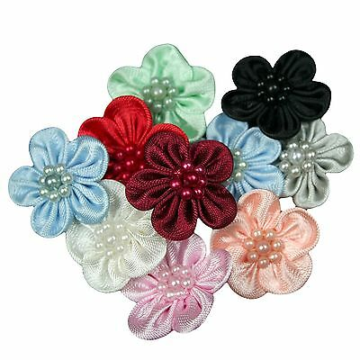 """Unotrim 1"""" Hand Sewn Satin Pearl Beaded Flower Red Blue Green Black Peach Pink"""