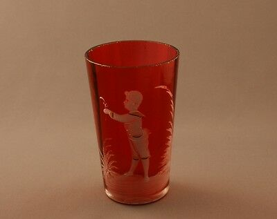 Victorian Mary Gregory Glass Cranberry Pony Tumbler Young Boy c.1890