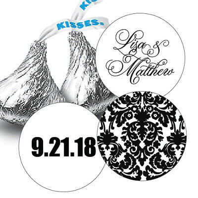 432 Damask Personalized Names & Wedding Date Hershey Kiss Labels Stickers Favors