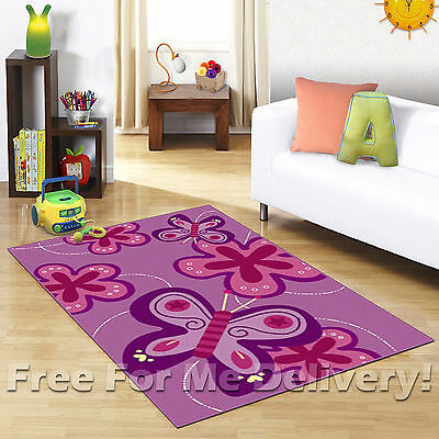 KIDS EXPRESS BUTTERFLIES PURPLE FUN PLAY FLOOR RUG (XS) 100x150cm **FREE DELIVER