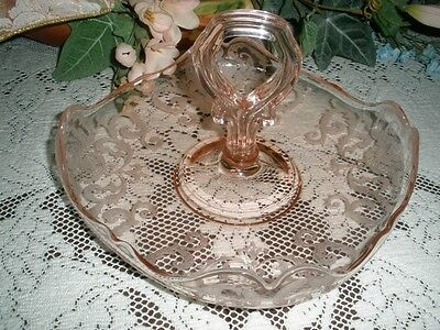 FOSTORIA ETCHED GLASS  PLATE WITH CENTER HANDLE.