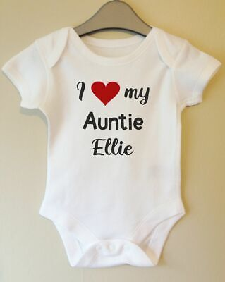 I Love My Auntie Personalised Baby Body Grow Suit Vest Girl Boy Personalized