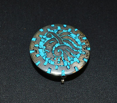 Vtg Mexico Sterling Silver 950 Turquoise Inlay LIdded Trinket/Pill Box (P1995)