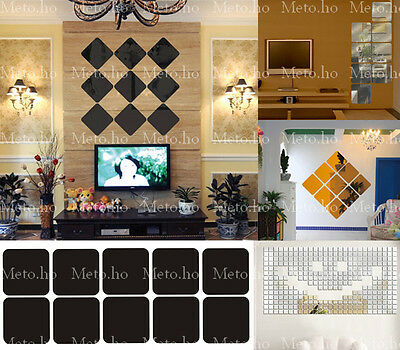 100pcs/lot Home Decoration mirror decorative square 3D wall DIY acrylic sticker