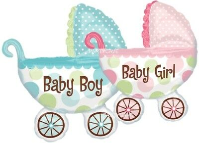 Baby Shower Party Pram Buggy Boy Girl Supershape Helium Foil Balloon Decoration