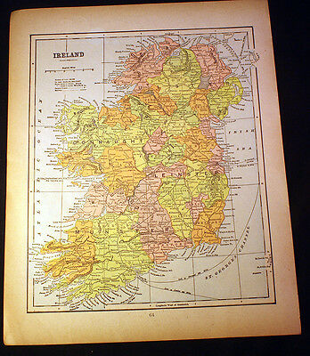 Antique 1899 Map Ireland OR England & Wales