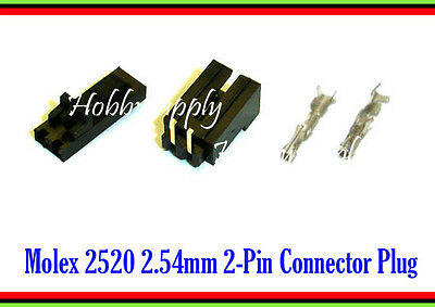 MOLEX 2520 2.54mm 2-Pin Male Right Angle, Female Lock Connector, Crimp x 10 Sets