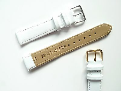 White High Quality Mens Ladies Genuine Soft Leather Watch Band Strap 6mm-24mm