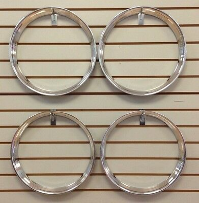 "15"" Chrome Stainless Steel HOT ROD STYLE RIBBED Beauty Rings TRIM RING SET Of 4"