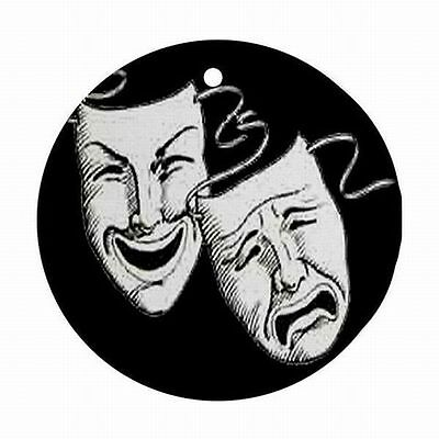 Comedy Tragedy Drama Mask Faces Theatre Christmas Tree Ornament Ornaments New!