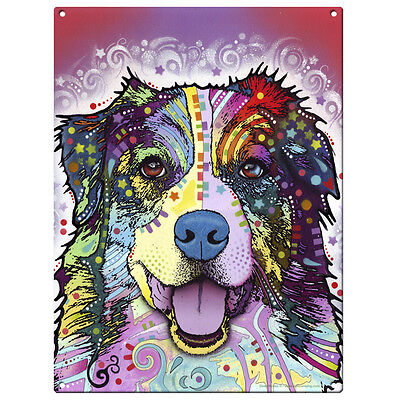 Australian Shepherd Dog Dean Russo Metal Sign Steel Pop Art Wall Decor 12 x 16