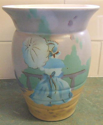 LARGE VINTAGE ENGLISH POTTERY VASE HAND PAINTED WITH CRINOLINE LADY PATTERN