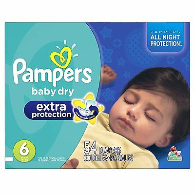 Pampers Baby Dry Extra Protection Diapers Size 6 Super Pack 54 Count (Packaging