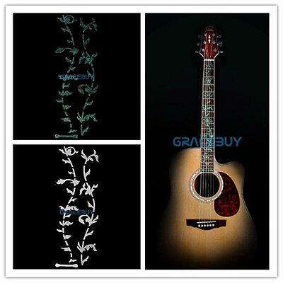 2pcs Silver + Green Tree Of Life Guitar Bass Fretboard Inlay Sticker Decals DIY