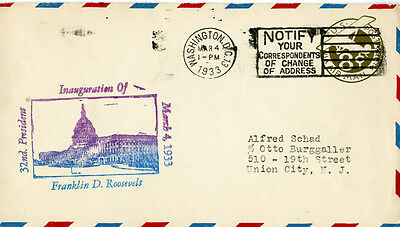 US Stamps 1933 First Day Cover Roosevelt Inauguration
