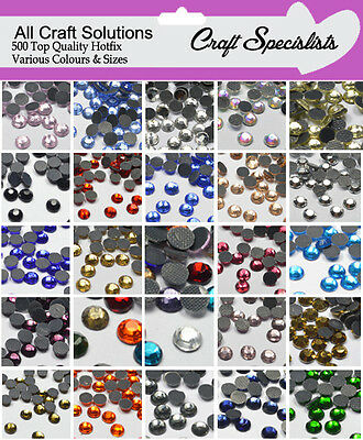 500 TOP QUALITY AA GRADE HOT FIX RHINESTONES DIAMANTE GEMS 3mm - 4mm - 5mm