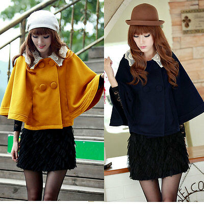 Women Batwing Sleeve Cape Coat Double Breasted Lace Collar Cloak Outerwear
