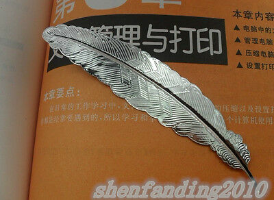 Free shipping 1pcs New retro feather metal bookmarks silver DIY 114mm C58