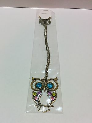Cute Colorful Vintage Owl Women's Pendant and Necklace