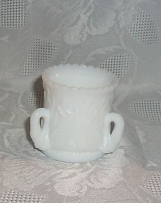 WESTMORELAND WHITE MILK GLASS TOOTHPICK HOLDER WITH 3 SWAN HANDLES MARKED