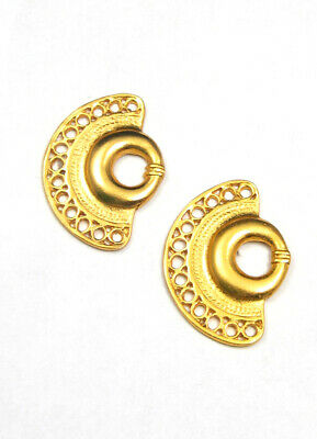 ACROSS THE PUDDLE 24k GP Pre-Columbian Nose Ring Post-Back Drop Earrings