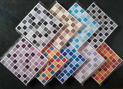 30 MOSAIC TILE STICKERS Stick On Tile Transfers Bathroom Kitchen SELF ADHESIVE
