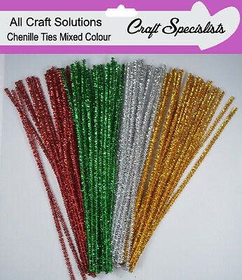100 MIXED GLITTER COLOUR CHENILLE CRAFT STEMS/ ARTS / PIPE CLEANERS/ 30cm / 12""