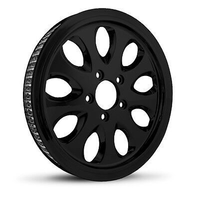 """Dna """"lust"""" Gloss Black Rear Pulley 66T 1"""" Harley 07+ Big Twin Softail Dyna"""