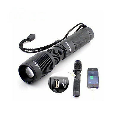 1800LM CREE XML T6 LED USB Android iPhone charger Zoomable Y73 Torch Flashlight