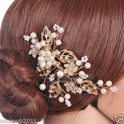 Gold Jewelry Pearl Flower Bridal Hair Comb Wedding Party Hair Accessory Handmade
