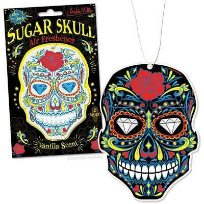 Sugar Skull Vanilla Air Freshener Glow Gift Fun Joke Kitsch Retro Novelty Snack