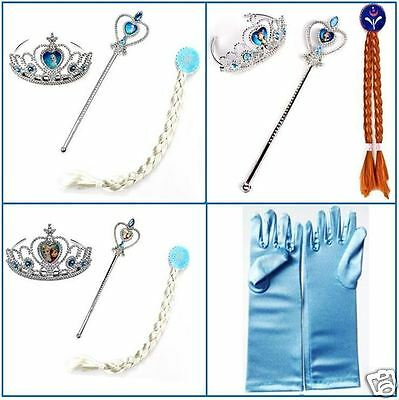 New Frozen Elsa Anna Hair Wig Wand Tiara Crown Glove Costume Cosplay Halloween