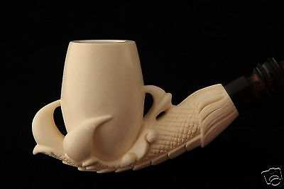 Ultra Deluxe Eagle ´s Claw Hand Carved Block Meerschaum Pipe in a fit CASE 6021