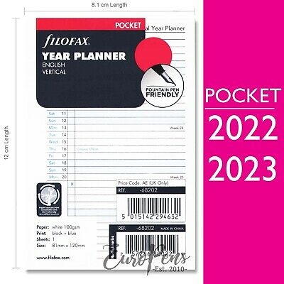 Filofax Pocket size Vertical Year Diary Planner Insert Refill - choose year