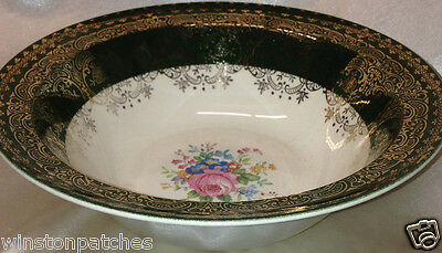 """TAYLOR SMITH & TAYLOR TST77 8 7/8"""" ROUND VEGETABLE BOWL GREEN & GOLD RIM FLORAL"""