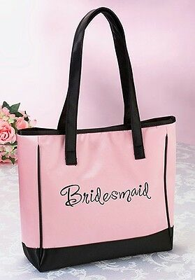 Pink Bridesmaid Tote Bag Wedding Bridal Shower Gift Party Embroidered