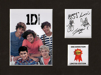One Direction Signed Autograph Display Mount limited edition 8 x 6 in