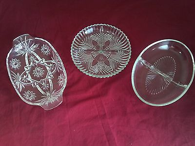 Lot of 3 Glass Crystal Snack Candies Nuts Serving Bowl Center Piece Plate Tray