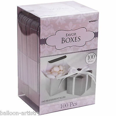 100 Classic SILVER Wedding Party Gift Favour Bags Cubes Boxes Mega Pack