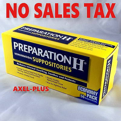 Preparation H Hemorrhoidal Suppositories Reduces Internal Swellen Itch 56 counts