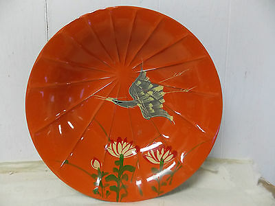 Vintage Laquered Graceware Handpainted by Artis Asian Art Crane Floral Bowl