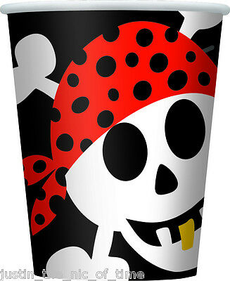 PIRATE FUN Boys Or Girls Birthday Party Tableware Paper Cup 9oz CUPS x8