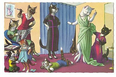 Mainzer postcard Dressed Cats at the seamstress, # 4876 scalloped edges
