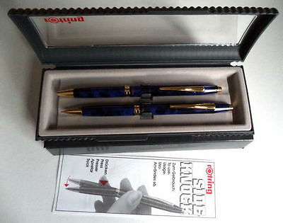 Rotring Sideknock Blue Marble Lapis Bllpoint Pen & Pencil Set New In Box