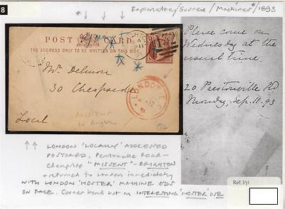 GB: 1893 postal stationery missent to Brighton with LONDON Hoster pmk (S27953).