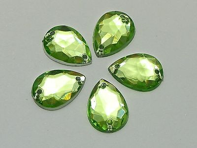 200 Soft Green Acrylic Teardrop Flatback Sewing Rhinestone Sew on Bead 10X14mm