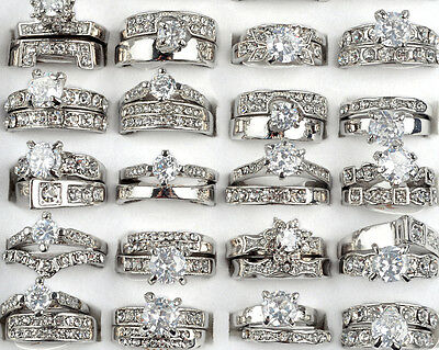 Wholesale 5x Lots Clear Cubic Zircon CZ Platinum P Women Wedding Bridal Rings